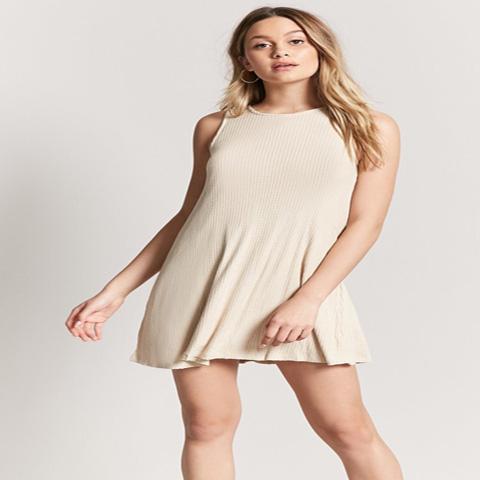 Forever 21 Vestido Beige Swing Dress